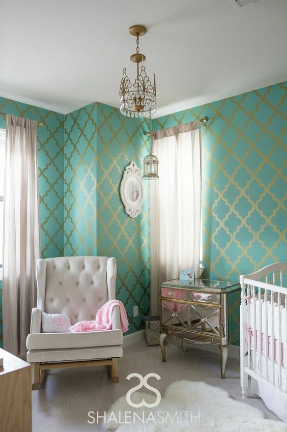 Hollywood Glam Nursery with Turquoise and Gold Wallpaper: Gold Wallpaper, Nurseryideas, Color, Baby Room, Gold Wall Stencil, Kid, Accent Wall