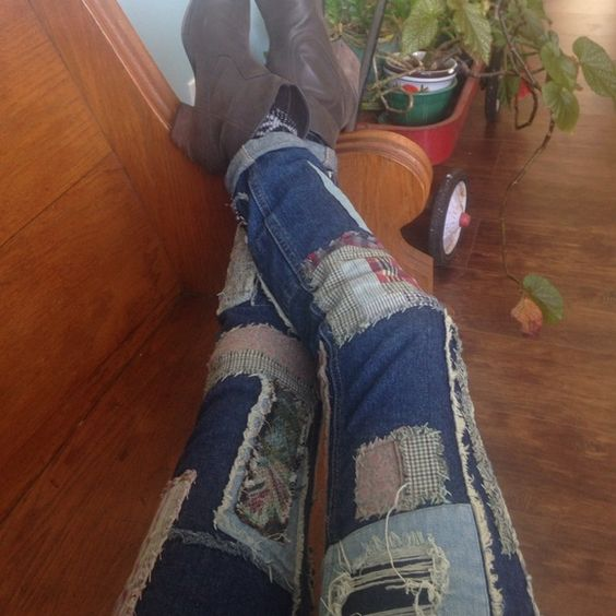 Free People patch jeans These jeans are sweeeeet. Even my baby likes them  Inseam is 27- I'm 5'3, and put two little rolls in so they hit at the ankle. Free People Jeans