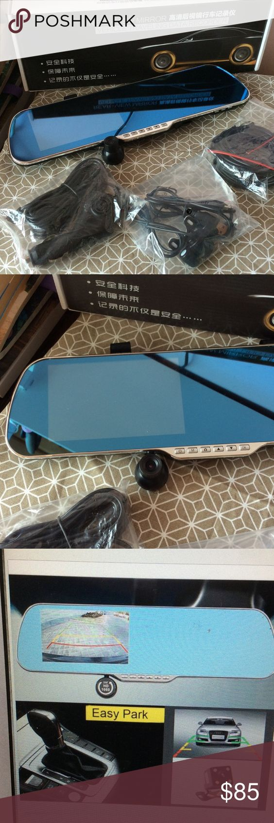 """1080P Android Wifi GPS Car Rear View Mirror Camera New! 5"""" Screen dual lens recording + backup camera. Android 4.4 Os, for all kinds of APPS. GPS function. FM transmitter. Music/ Video play/ Surf Internet. Wifi function. Blue mirror anti dazzling design. Package included: 5"""" touch car DVR, USB cable, Car charger, back camera. Accessories"""