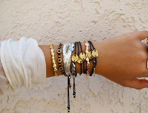 Sweet & simple leather, gold, brass, copper, and silver mix of bracelets, light & airy ideal for summer jewelry