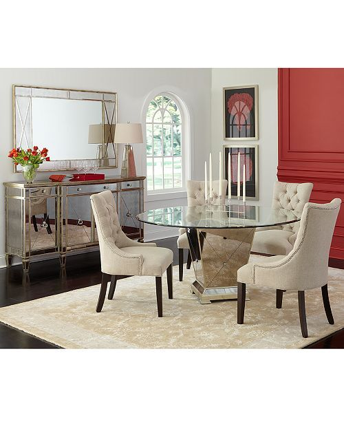Furniture Marais Dining Room Furniture 7 Piece Set 60 Mirrored Dining Table And 6 Chairs Furniture Ma Dining Room Furniture Furniture Round Dining Room