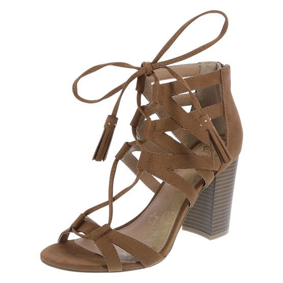 """Stay on trend this season with the Harlow from Brash! It features ghillie styling with lace-up and tassel detail, zippered ankle, 3 1/2"""" stacked block heel, lightly padded footbed, and a sturdy outsole. Manmade materials."""