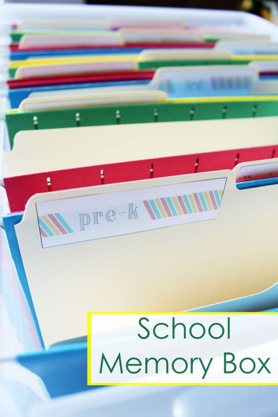 School Memory Box Organizer - Use these free printables to create a School Memory Box to organize and store all of your child's school memories and work.