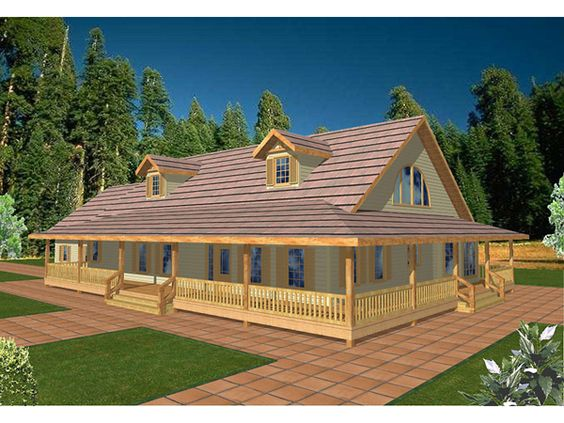 Porch roof wrap around porches and home on pinterest for One floor house plans with wrap around porch