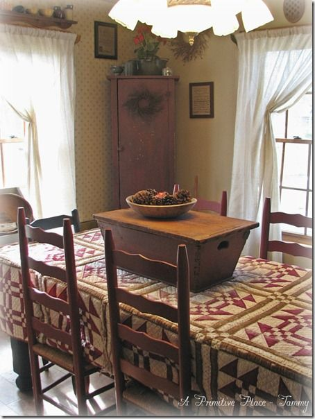 Love the quilt table cover nice room would be nice for for Dining room quilter