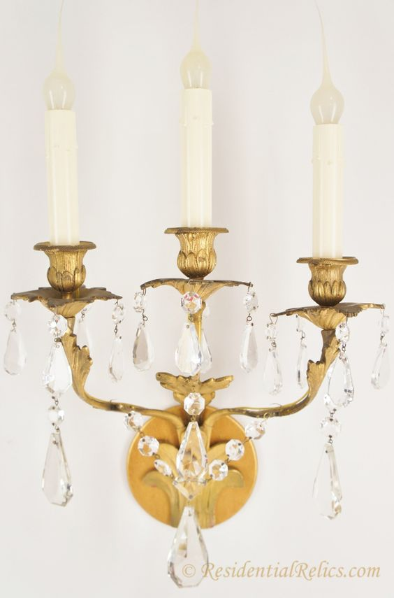 23763Pairantiquegiltbronzeandcrystal3Candlewallsconces Cool Candle Wall Sconces For Dining Room Review