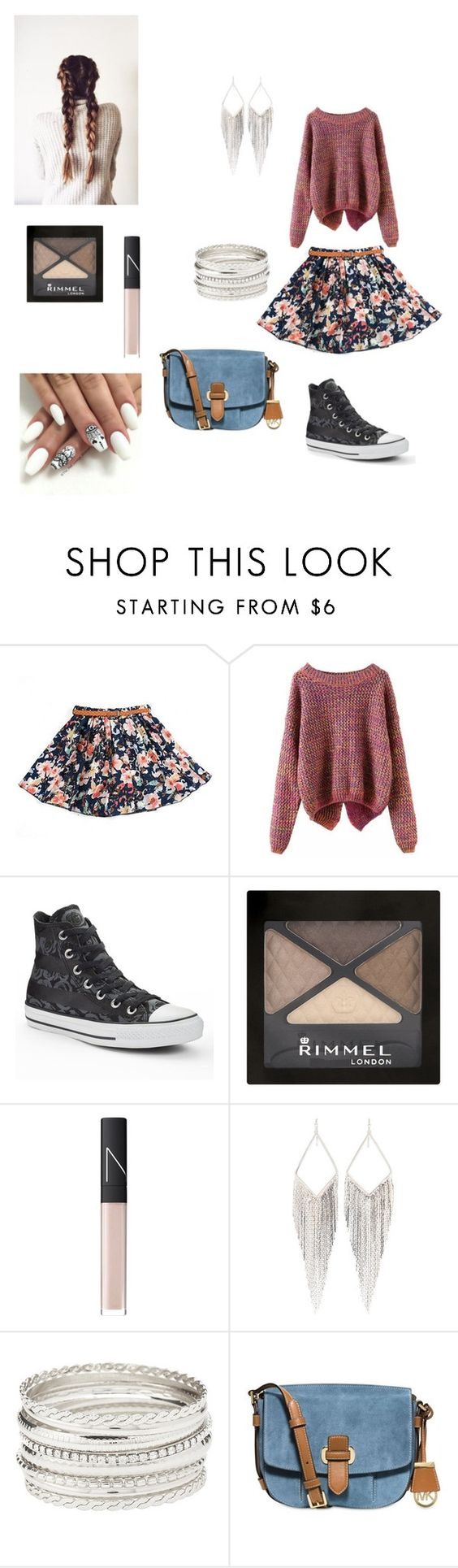 """Daisy Casual Test"" by jacquelinethomas-om ❤ liked on Polyvore featuring Converse, Rimmel, NARS Cosmetics, Jules Smith, Charlotte Russe and MICHAEL Michael Kors"
