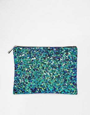 ASOS Mermaid Zip Top Clutch Bag - Love this mermaid zip clutch! How gorgeous are the colours?http://asos.do/mZC4Qc