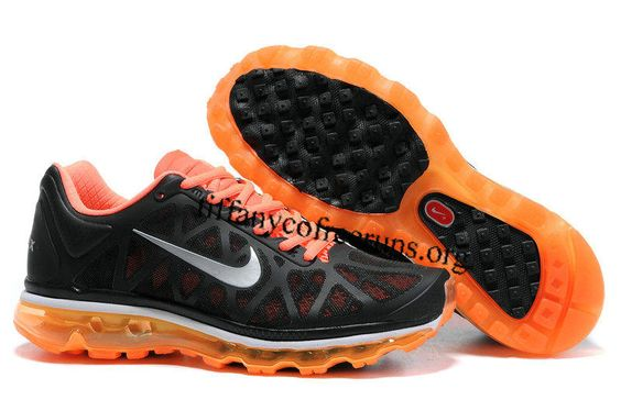Womens Nike Air Max 2011 Black Orange Silver Sneakers $ 59.99