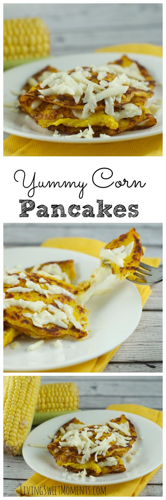 Delicious Corn Pancakes with cheese AKA Cachapas - Super  quick and easy dinner idea. Have them on your table in 10 minutes or less! Amazingly delicious