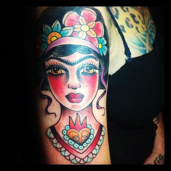 PHOTOS American Pickers Danielle Colby shows off huge new Frida Kahlo tattoo Starcasm.net: Tattoo Danielcolby, Tattoos Enhance, Tattoos Peircings, Actual Tattoo, Colby Frida, Frida Tattoos