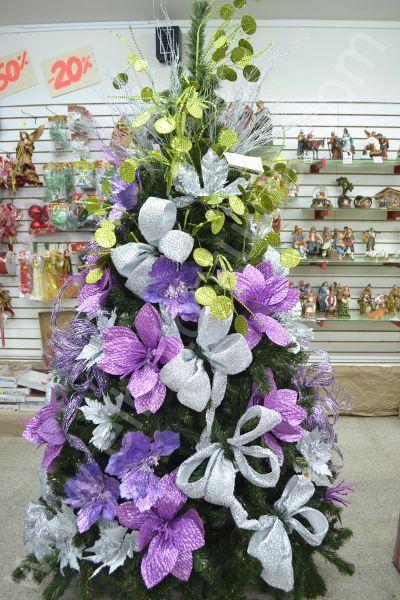 Decoracion arbol de navidad blanco y morado - Arbol de navidad decorados ...