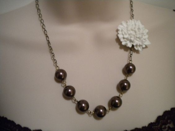 White Mum Flower and Swarovski Burgundy Pearl Antique Brass Necklace and Earrings Set. $30.00, via Etsy.