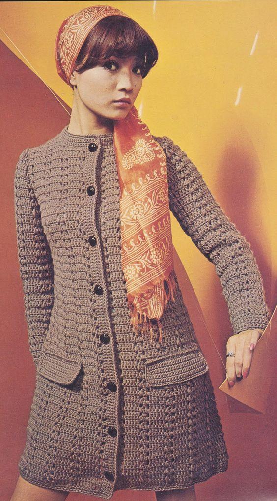 Ivelise Feito à Mão: Vestido Ou Casaco De Manga Longa Em Crochê