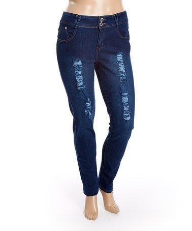 Look at this #zulilyfind! Medium Blue Torn Skinny Jeans - Plus #zulilyfinds
