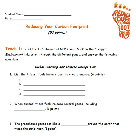 Reduce your carbon footprint - worksheet for students