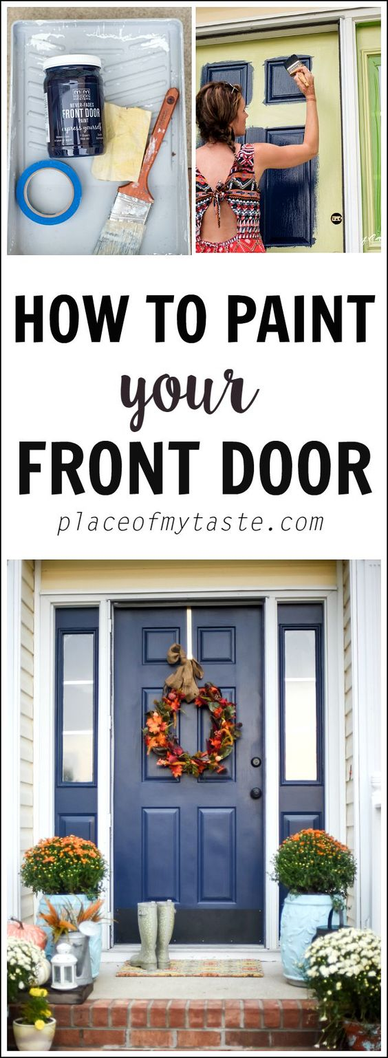 HOW TO PAINT YOUR FRONT DOOR! Add a pop of color to your curb appeal!