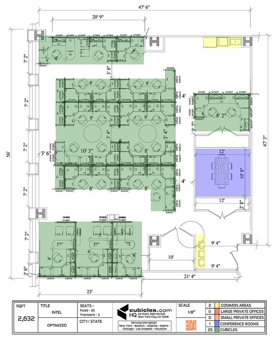 Office layout plan with 25 cubicles, 2 commom areas, and 1 conference room. #officelayout