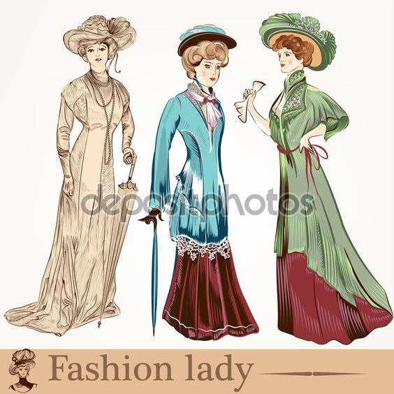 Собрание векторных леди моды утомлено в старомодном clo — стоковая иллюстрация #64877279