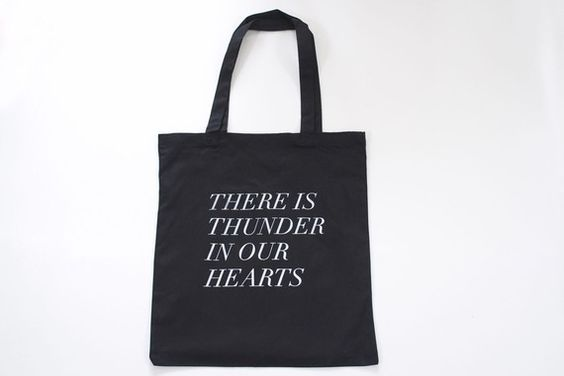 thunder in our hearts tote in black by fieldguided on Etsy