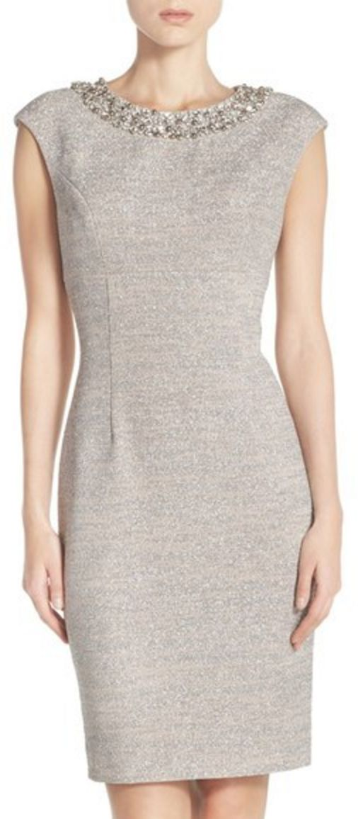 Embellished Neckline Grey Sparkle Knit Sheath