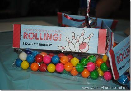 bowling birthday favor