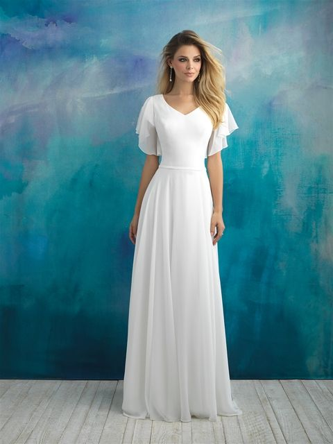 how to buy coupon code detailed images $749 Allure Modest V-neck Flutter Sleeve Ivory or White ...