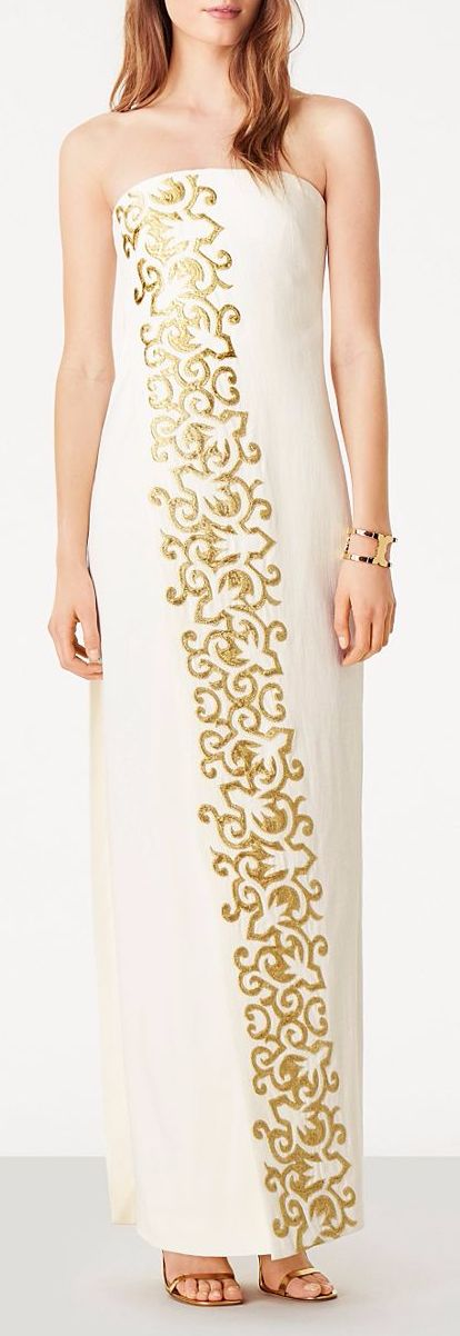 Long, Strapless Gown in White with Gold Accents