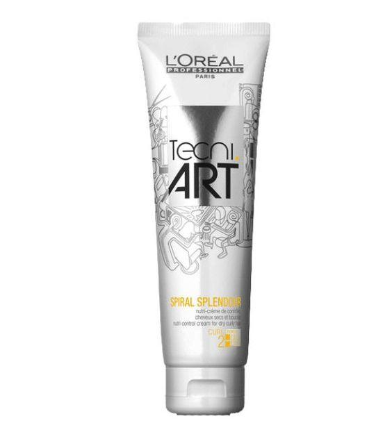 L'Oréal TECNIART SPIRAL SPLENDOR 150 ML  Nutri-crema de control para rizos secos y/o rebeldes. Diseñado para aportar definición dejando un cabello suave, brillante con efecto anti-encrespamiento