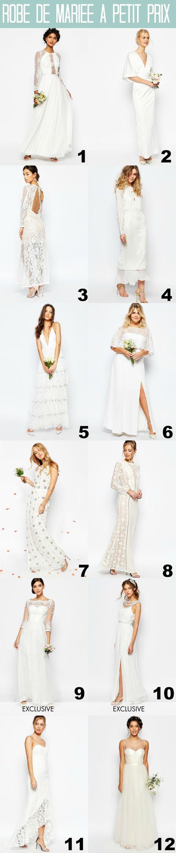 des robes de mariées pas chères, parce qu'on peut se marier et être jolie à petit prix! ma sélection sur asos pour la mariée et ses copines!