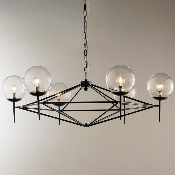 Modern pyramid glass globes chandelier pinterest for Mid century modern globe pendant light
