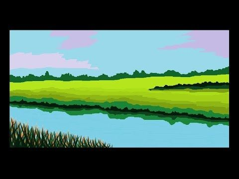 How To Draw A Simple Canal Scenery Art In Ms Paint Cometube