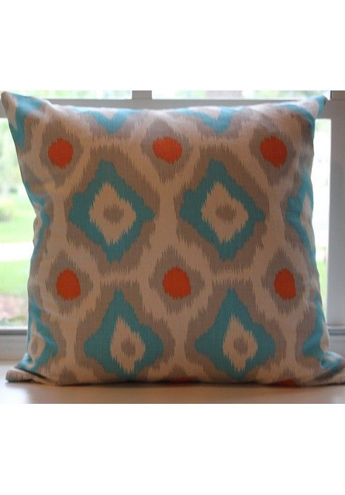 Decorative throw pillows, Blue orange and Dorm on Pinterest