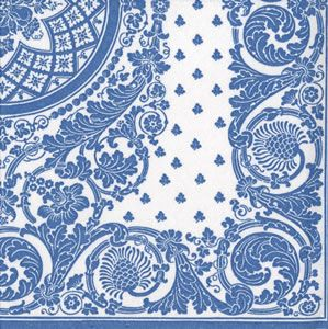 Jacquard Blue & White Airlaid Dinner Napkins - 12 per package: