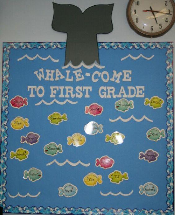 Back to school bulletin board (whale-come)