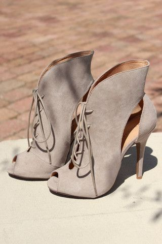 Chinese Laundry Julius Peep Toe Bootie – 7 Chics  Lace up suede peep toe