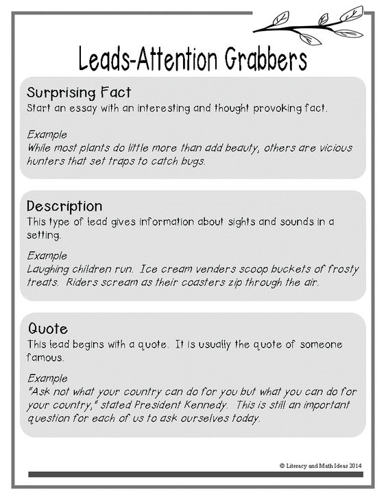 examples of essay hooks hook c lead c attention grabber beginning an essay with an writing pinterest - Examples Of Attention Grabbers For Essays