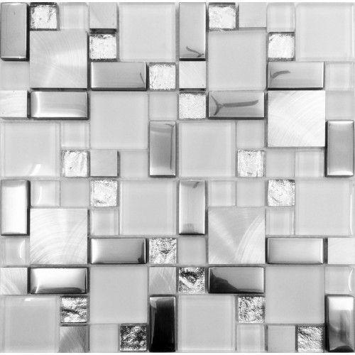 Silver Metal And Gl Tile Backsplash