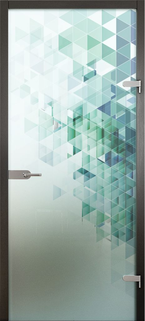 Glass doors. Acid etched glass printed with ceramic paints