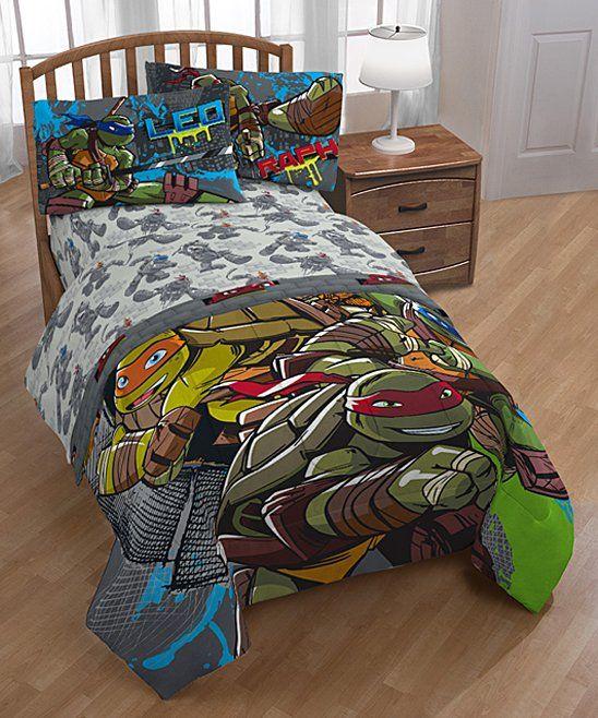 Take A Look At This Teenage Mutant Ninja Turtles Gray Blue Cross Hatching Sheet Set Today Tmnt Bedding Teenage Mutant Ninja Turtles Bedroom Full Bedding Sets
