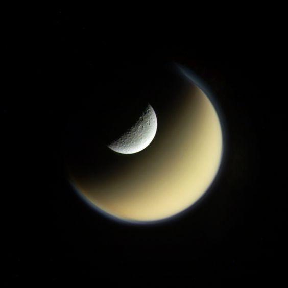 """Rhea and Titan"" edited by Jason Major #flickr #NASA #Cassini #moons #Saturn"