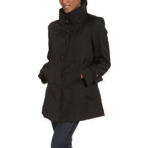 Jones New York Women's Pique Waffle Weave 4 Button Single Breasted Swing Coat with Stand Collar (Apparel)