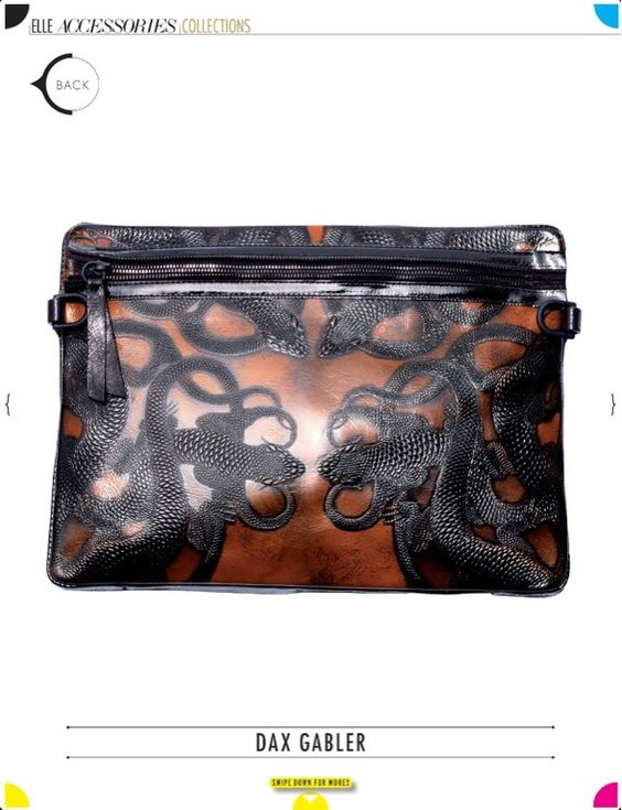 Dax Gabler ~ Bag featured in the Elle magazine: Accessories Special Issue ~ 2012.