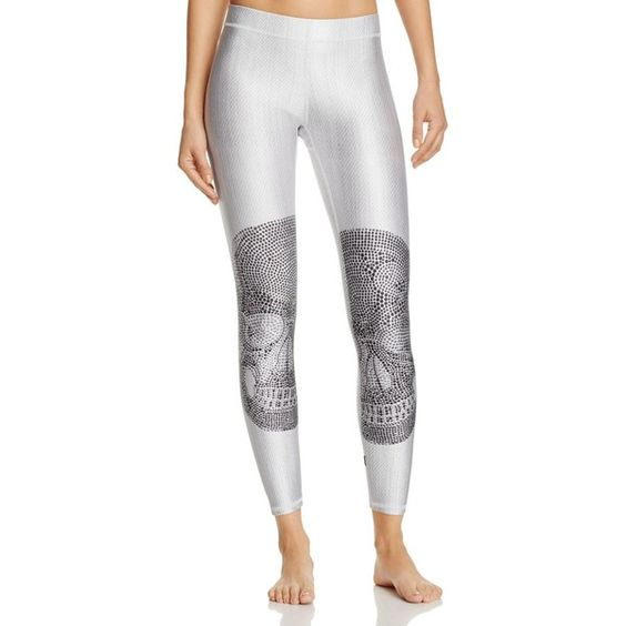Terez Crystal Embellished Skull Leggings (€79) ❤ liked on Polyvore featuring pants, leggings, white, gothic pants, white leggings, white pants, goth leggings and legging pants