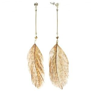 Candie's Gold Tone Simulated Crystal Bead and Leopard Feather Linear Drop Earrings