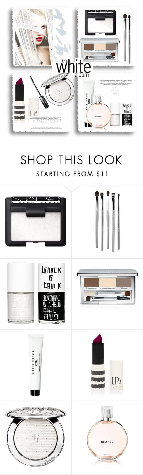 """The white album..."" by gul07 ❤ liked on Polyvore featuring beauty, NARS Cosmetics, esum, Uslu Airlines, Clinique, Bobbi Brown Cosmetics, Topshop and Guerlain"