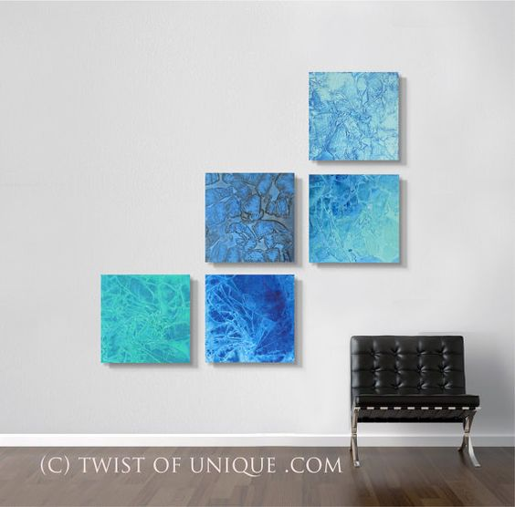Ocean Abstract Painting  CUSTOM 5  panel  15 Inch by TwistOfUnique, $300.00