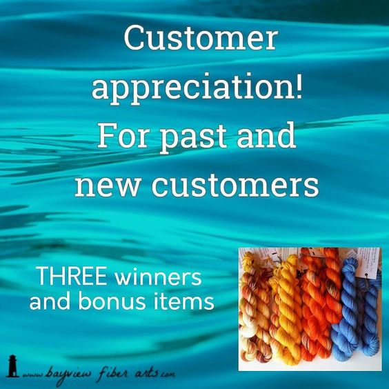 Update - To clarify the purpose of this giveaway. This is to reward my fabulous loyal wonderful customers. If you have purchased yarn from me at any time you are a customer! A repeat purchase is not necessary.    For this customer giveaway you need to: Follow me on Instagram @bayviewfiberarts. Be a customer! Past customers and new customers if you have purchased yarn from me at any time you are a customer! To enter: send me a conversation on Etsy with your Instagram name so I can connect…