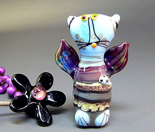 An Angel with Whiskers Handmade Lampwork Cat by ManuelasGlassArt, $75.00