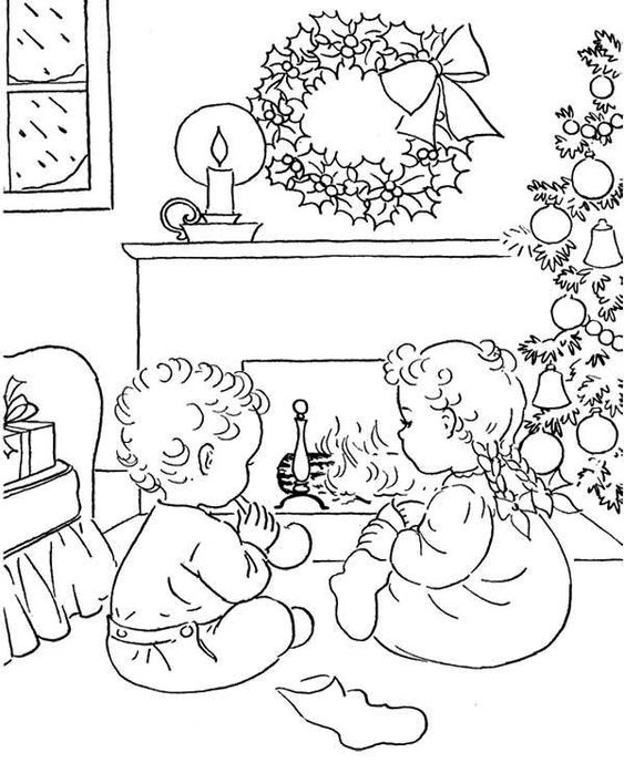 Christmas Eve Coloring Page   Christmas Eve   Pinterest ...
